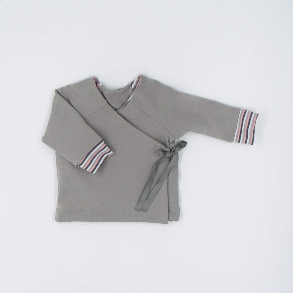 DOUBLE SIDED CARDIGAN GRAY PINK STRIPES
