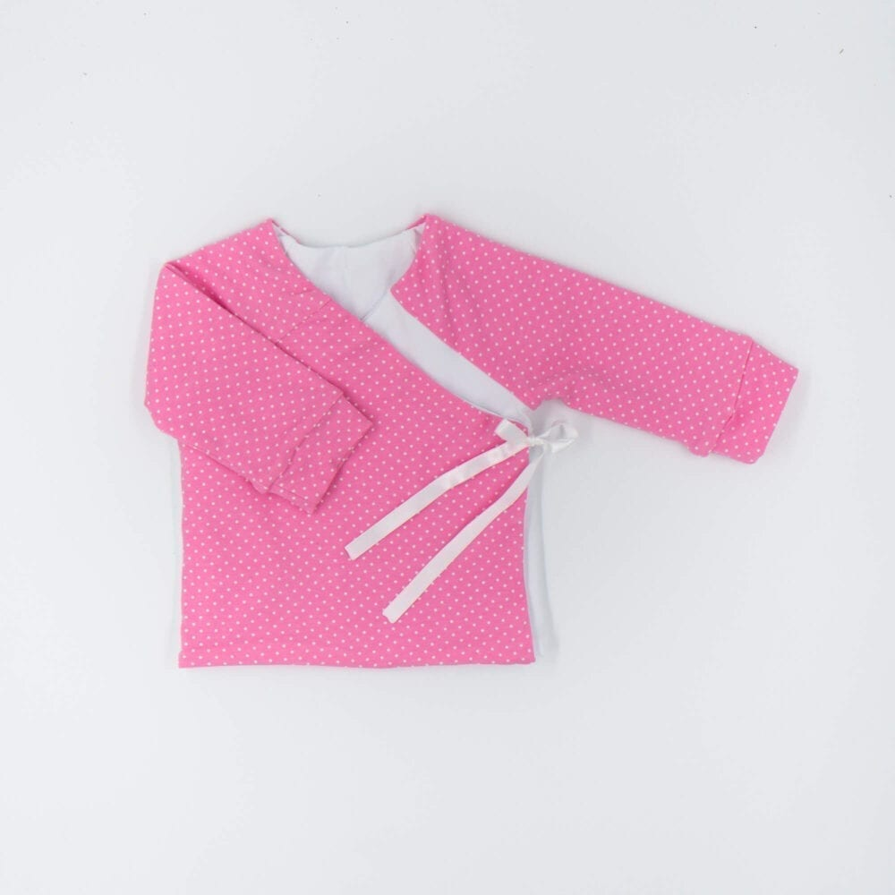 DOUBLE SIDED CARDIGAN PINK WHITE DOTS