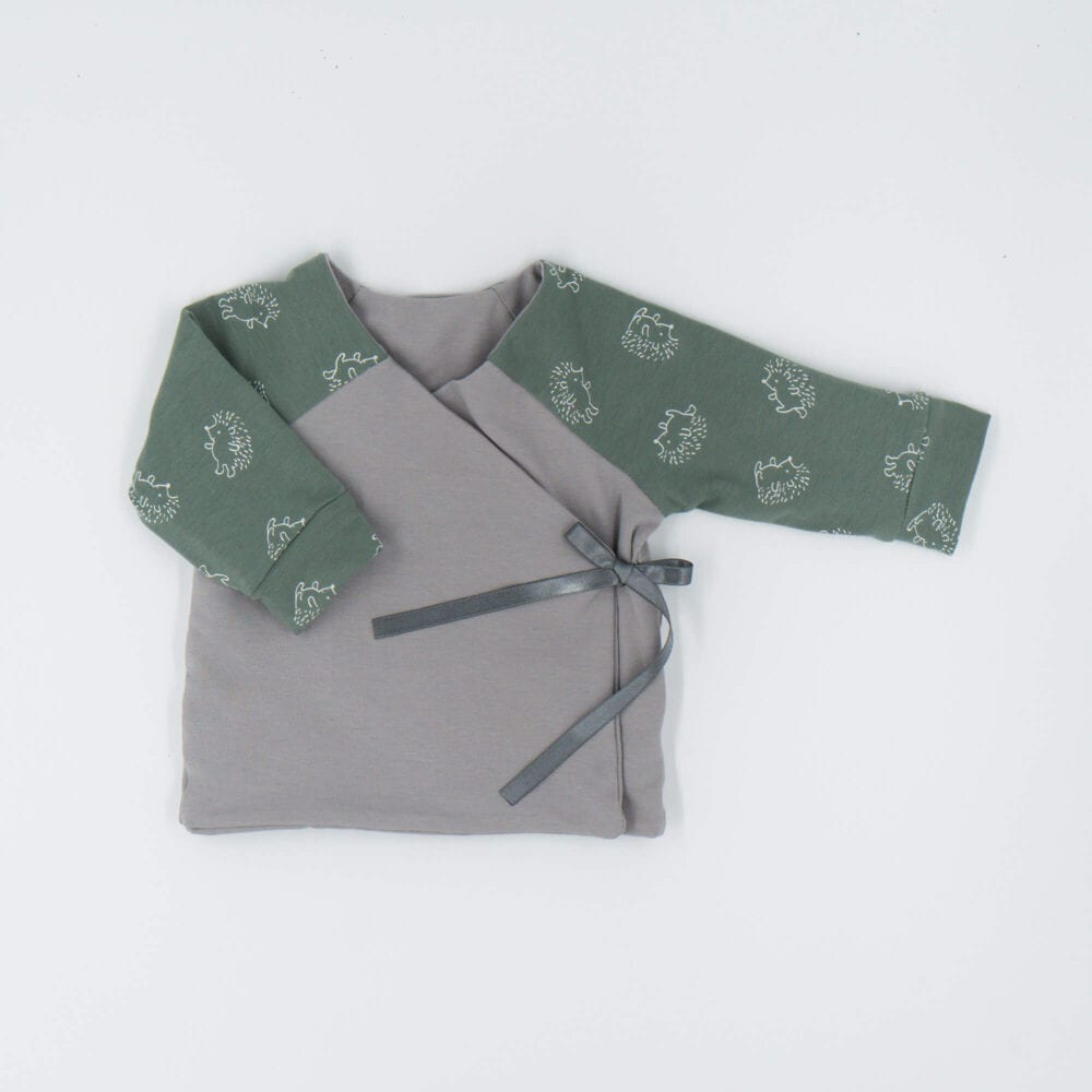 DOUBLE SIDED CARDIGAN GREEN GRAY