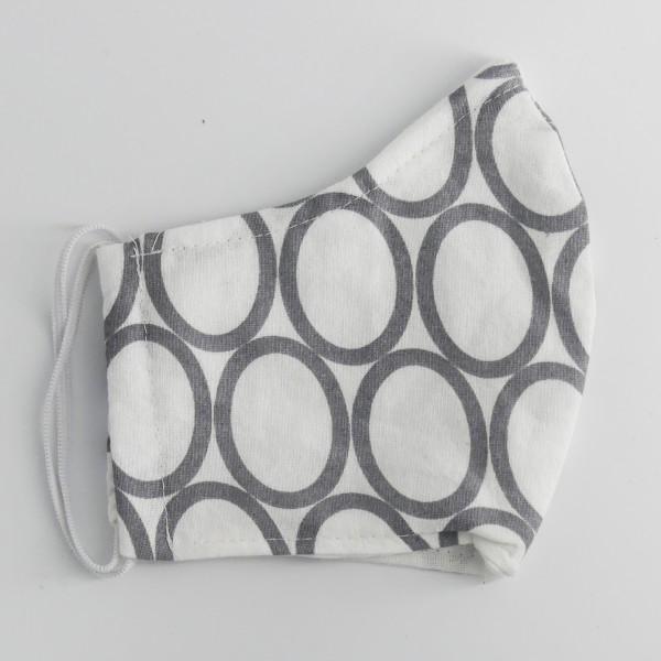 Obrazna maska - bela s sivimi krogi