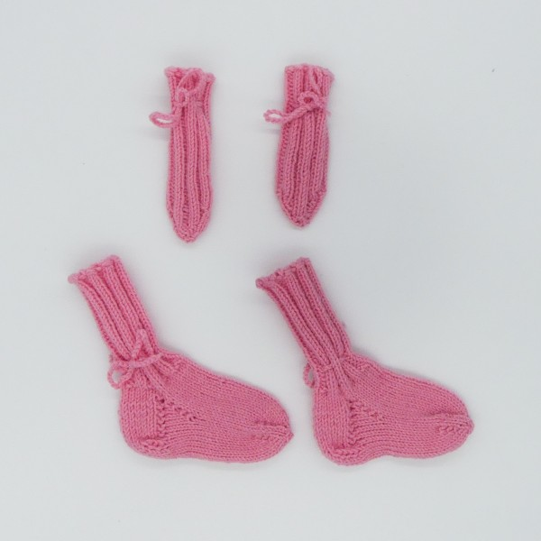 pleten komplet roza nogavice, rokavice 68