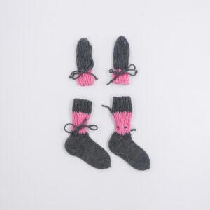 gloves socks pink gray 68 - 74